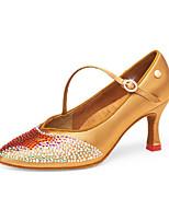 Недорогие -Жен. Обувь для модерна Сатин На каблуках Кубинский каблук Танцевальная обувь Черный / Желтый / Коричневый