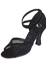 baratos -Mulheres Sapatos de Dança Latina Cetim Sandália / Salto Salto Carretel Personalizável Sapatos de Dança Dourado / Preto / Caqui