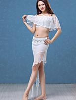 abordables -Danza del Vientre Accesorios Mujer Rendimiento Encaje Encaje / Fruncido Manga Corta Cintura Baja Faldas / Top
