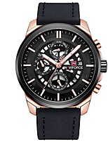cheap -NAVIFORCE Men's Sport Watch Dress Watch Japanese Japanese Quartz 30 m Water Resistant / Water Proof Calendar / date / day New Design Genuine Leather Band Analog Luxury Fashion Black / Brown / Grey -