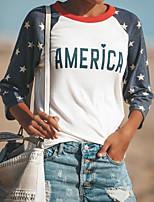 abordables -t-shirt femme - color block / polka dot round neck