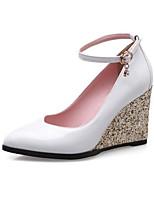 baratos -Mulheres Sapatos Confortáveis Microfibra Primavera Saltos Salto Plataforma Branco / Preto / Rosa claro
