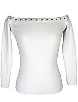 cheap -women's long sleeve slim pullover - solid colored off shoulder