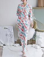 Недорогие -Жен. Круглый вырез Костюм Пижамы Однотонный