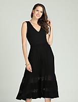 Недорогие -Жен. Классический / Элегантный стиль Оболочка / С летящей юбкой Платье - Однотонный, С отверстиями Средней длины