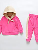 Недорогие -Дети Девочки Контрастных цветов Длинный рукав Набор одежды