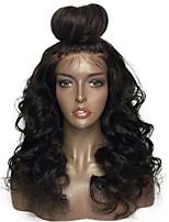 cheap -Virgin Human Hair Lace Front Wig Peruvian Hair Wavy Wig Layered Haircut 130% With Baby Hair / Natural Hairline Black Women's Long Human Hair Lace Wig