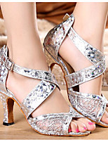 economico -Per donna Scarpe per balli latini PU (Poliuretano) Tacchi Tacco alto sottile Scarpe da ballo Oro / Argento