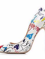abordables -Femme Chaussures Polyuréthane Printemps & Automne Escarpin Basique Chaussures à Talons Talon Aiguille Bout pointu Motif Animal Blanc / Noir / Bleu / Soirée & Evénement