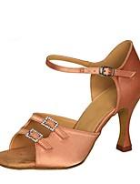 economico -Per donna Scarpe per balli latini Raso Sandali / Tacchi Tacco a rocchetto Personalizzabile Scarpe da ballo Nero / Marrone / Carne
