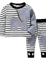 cheap -Baby Girls' Active / Basic Going out Striped / Patchwork Patchwork Long Sleeve Long Cotton Clothing Set / Toddler
