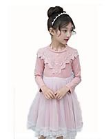 Недорогие -Дети Девочки Милая Однотонный Длинный рукав До колена Платье