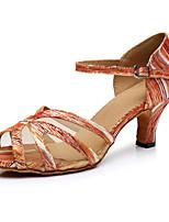 Недорогие -Жен. Обувь для латины Полотно На каблуках Толстая каблук Танцевальная обувь Цвет радуги