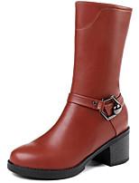 Недорогие -Жен. Fashion Boots Полиуретан Наступила зима Ботинки Блочная пятка Круглый носок Сапоги до середины икры Черный / Коричневый