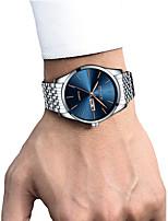 cheap -Men's Dress Watch Wrist Watch Quartz 30 m Calendar / date / day Chronograph Creative Stainless Steel Band Analog Luxury Elegant Black / White / Gold - White / Blue Gold / Silver / White Gold / Silver