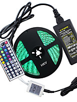 cheap -HKV 5m Flexible LED Light Strips 300 LEDs 5050 SMD 1 44Keys Remote Controller / 1 X 5A power adapter RGB Waterproof / Cuttable / Linkable 100-240 V