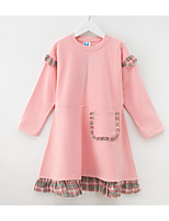 cheap -Kids Girls' Basic Solid Colored Patchwork Long Sleeve Above Knee Dress / Cotton