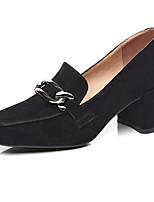 Недорогие -Жен. Комфортная обувь Замша Весна Обувь на каблуках На толстом каблуке Черный / Хаки