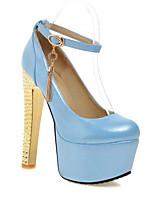 Недорогие -Жен. Полиуретан Весна Туфли лодочки Обувь на каблуках На шпильке Красный / Синий / Розовый