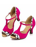 baratos -Mulheres Sapatos de Dança Latina Camurça Salto Salto Grosso Sapatos de Dança Fúcsia