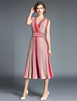 cheap -SHIHUATANG Women's Street chic A Line Dress - Striped Pleated