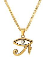 Недорогие -Муж. Ожерелья с подвесками - Нержавеющая сталь Глаза Мода Золотой, Черный, Серебряный 55 cm Ожерелье Бижутерия 1шт Назначение Подарок, Повседневные