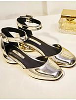 Недорогие -Жен. Комфортная обувь Наппа Leather Весна & осень Обувь на каблуках Гетеротипическая пятка Золотой / Темно-серый