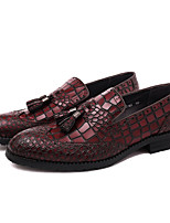cheap -Men's Formal Shoes Nappa Leather Spring / Summer Business Loafers & Slip-Ons Black / Wine / Tassel / Party & Evening