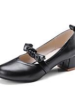 Недорогие -Жен. Обувь Полиуретан Весна Туфли лодочки Обувь на каблуках На толстом каблуке Черный / Коричневый / Миндальный