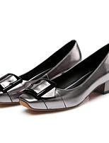Недорогие -Жен. Обувь Наппа Leather Осень Удобная обувь Обувь на каблуках На толстом каблуке Черный / Серебряный / Винный