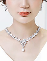 cheap -Women's Cubic Zirconia Stylish Jewelry Set - Drop, Flower Luxury, Sweet, Fashion Include Drop Earrings / Pendant Necklace White For Wedding / Engagement