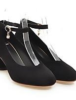 baratos -Mulheres Sapatos Confortáveis Microfibra Primavera Saltos Salto Robusto Preto / Bege / Rosa claro