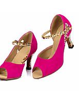 Недорогие -Жен. Обувь для латины Замша На каблуках Тонкий высокий каблук Танцевальная обувь Пурпурный / Темно-синий