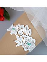 baratos -Renda De Renda / Estilo Folk Wedding Garter Com Pérolas Sintéticas / Flor / Cor Única Ligas / Decoração de Casamento Original Casamento / Noivado