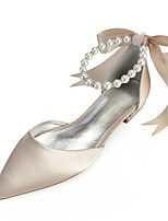 cheap -Women's Comfort Shoes Satin Spring & Summer Wedding Shoes Flat Heel Pointed Toe Rhinestone / Bowknot / Imitation Pearl Blue / Champagne / Ivory / Party & Evening