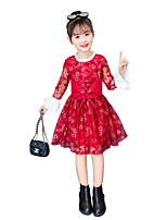 Недорогие -Дети Девочки Симпатичные Стиль Цветочный принт Длинный рукав Выше колена Платье