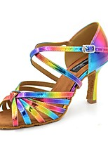 cheap -Women's Latin Shoes Satin Sandal / Heel Flared Heel Customizable Dance Shoes Rainbow
