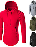 cheap -Men's Pocket Hoodie & Sweatshirt - Army Green, Red, Grey Sports Solid Color Hoodie Running, Fitness, Gym Long Sleeve Activewear Breathable, Soft, Sweat-wicking Stretchy