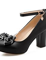 Недорогие -Жен. Комфортная обувь Искусственная кожа Весна Обувь на каблуках На толстом каблуке Черный / Розовый