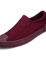 abordables -Hombre Tela Verano Confort Zapatos de taco bajo y Slip-On Negro / Gris / Wine