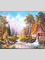 Недорогие -Hang-роспись маслом Ручная роспись - Пейзаж Modern холст