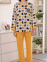 cheap -Women's Round Neck Suits Pajamas Geometric