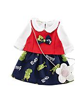 Недорогие -малыш Девочки На каждый день Однотонный Длинный рукав Хлопок Набор одежды / Дети (1-4 лет)