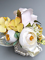 "baratos -Bouquets de Noiva Alfinetes de Lapela / Buquê de Pulso Casamento / Festa Poliéster 2.36""(Aprox.6cm)"