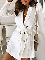 cheap -Women's Street chic / Sophisticated Trench Coat - Solid Colored