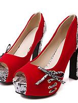 Недорогие -Жен. Комфортная обувь Полиуретан Весна Обувь на каблуках На шпильке Черный / Красный / Синий