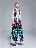 Недорогие -Жен. Элегантный стиль С летящей юбкой Платье - Цветочный принт, С принтом Макси