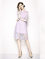 cheap -SHE IN SUN Women's Elegant Petal Sleeves Sheath Dress Lace Trims