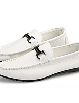 cheap -Men's Moccasin Faux Leather / PU(Polyurethane) Fall Loafers & Slip-Ons White / Black / Red