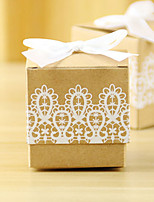 cheap -Cubic Card Paper Favor Holder with Lace-trimmed Bottom Favor Boxes - 12pcs